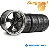 Staggered Bullitt Motorsport Black Wheel & Sumitomo Tire Kit - 18x9/10 (99-04) - American Muscle Wheels 10082||10083||63006||63016