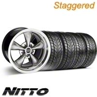 Staggered Hypercoated Bullitt Wheel & NITTO Tire Kit - 17x9/10.5 (99-04)
