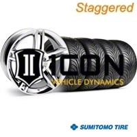 Staggered Chrome 2010 GT500 Wheel & Sumitomo Tire Kit - 18x9/10 (99-04) - AmericanMuscle Wheels 28220||28223||63006||63016