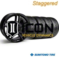 Staggered Black 2010 GT500 Wheel & Sumitomo Tire Kit - 18x9/10 (99-04) - AmericanMuscle Wheels 28219||28222||63006||63016