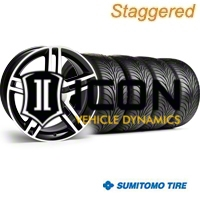 Staggered Black Machined 2010 GT500 Wheel & Sumitomo Tire Kit - 18x9/10 (99-04) - AmericanMuscle Wheels 28221||28224||63006||63016