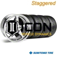 Staggered Chrome 1995 Style Cobra R Wheel & Sumitomo Tire Kit - 18x9/10 (99-04) - AmericanMuscle Wheels 10097||10098||63006||63016
