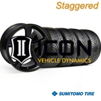 Staggered Black 2010 Style GT Premium Wheel & Sumitomo Tire Kit - 18x9/10 (99-04) - AmericanMuscle Wheels 28210||28213||63006||63016