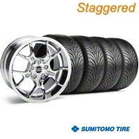 Staggered Chrome GT4 Wheel & Sumitomo Tire Kit - 18x9/10 (99-04) - AmericanMuscle Wheels 28133||28147||63006||63016
