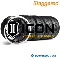 Staggered Black GT4 Wheel & Sumitomo Tire Kit - 18x9/10 (99-04) - AmericanMuscle Wheels 28132||28146||63006||63016