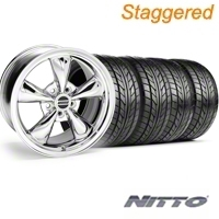 Staggered Bullitt Chrome Wheel & NITTO Tire Kit - 20x8.5/10 (05-14 V6; 05-10 GT) - American Muscle Wheels 28037||28048||76005||76006