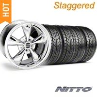 Staggered Chrome Bullitt Wheel & NITTO Tire Kit - 20x8.5/10 (05-10 GT, V6) - AmericanMuscle Wheels 28037||28048||76005||76006