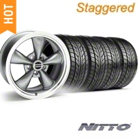 Staggered Anthracite Bullitt Wheel & NITTO Tire Kit - 20x8.5/10 (05-14) - AmericanMuscle Wheels 28035||28049||76005||76006
