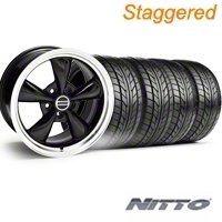 Staggered Black Bullitt Wheel & NITTO Tire Kit - 20x8.5/10 (05-14) - AmericanMuscle Wheels 28036||28047||76005||76006