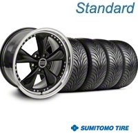 Bullitt Motorsport Black Wheel & Sumitomo Tire Kit - 18x9 (05-14 GT, V6) - American Muscle Wheels 10107||63008||KIT