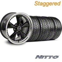 Staggered Bullitt Motorsport Black Wheel & NITTO Tire Kit - 20x8.5/10 (05-14 V6; 05-10 GT) - American Muscle Wheels 76006