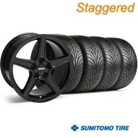 Staggered Saleen Black Wheel & Sumitomo Tire Kit - 18x9/10 (05-14 GT, V6) - American Muscle Wheels 28193||28252||63008||63009||KIT