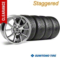 Staggered FR500 Chrome Wheel & Sumitomo Tire Kit - 18x9/10 (05-14) - American Muscle Wheels 10071||28273G05||63008||63009||KIT