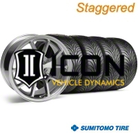 Staggered Chrome FR500 Wheel & Sumitomo Tire Kit - 18x9/10 (05-14) - AmericanMuscle Wheels KIT||28273G05||10071||63008||63009