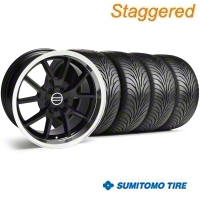 Staggered FR500 Style Black Wheel & Sumitomo Tire Kit - 18x9/10 (05-14) - American Muscle Wheels 10070||28272G05||63008||63009||KIT