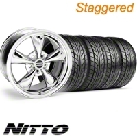 Staggered Chrome Bullitt Wheel & NITTO Tire Kit - 20x8.5/10 (10-12)