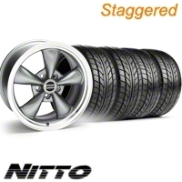 Staggered Anthracite Bullitt Wheel & NITTO Tire Kit - 20x8.5/10 (10-12)