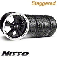 Staggered Black Bullitt Wheel & NITTO Tire Kit - 20x8.5/10 (10-12)