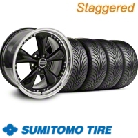 Staggered Black Bullitt Motorsport Wheel & Sumitomo Tire Kit - 18x9/10 (11-12)