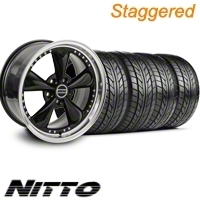 Staggered Black Bullitt Motorsport Wheel & NITTO Tire Kit - 20x8.5/10 (10-12)