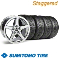 Staggered Chrome Saleen Wheel & Sumitomo Tire Kit - 18x9/10 (11-12)