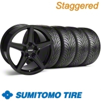 Staggered Black Saleen Wheel & Sumitomo Tire Kit - 18x9/10 (11-12)