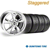 Staggered Bullitt Chrome Wheel & Sumitomo Tire Kit - 18x9/10 (99-04) - American Muscle Wheels 63016