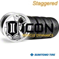Staggered Chrome Bullitt Wheel & Sumitomo Tire Kit - 18x9/10 (99-04) - AmericanMuscle Wheels 28265G94||28271||63006||63016