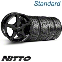 Black 1995 Style Cobra R Wheel & NITTO Tire Kit - 17x9 (87-93; Excludes 93 Cobra)