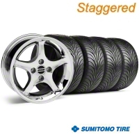 Staggered Chrome 1995 Style Cobra R Wheel & Sumitomo Tire Kit - 17x8/10 (87-93; Excludes 93 Cobra) - AmericanMuscle Wheels KIT||28312||28309||63010||63001