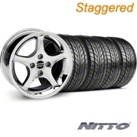 Staggered Chrome 1995 Style Cobra R Wheel & NITTO Tire Kit - 17x8/10 (87-93; Excludes 93 Cobra) - AmericanMuscle Wheels KIT||28312||28309||76004||76000