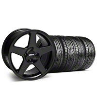 Black 2003 Style Cobra Wheel & NITTO Tire Kit - 17x9 (87-93; Excludes 93 Cobra) - AmericanMuscle Wheels KIT||28125||76004