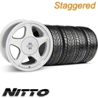 Staggered Argent Silver Pony R Wheel & NITTO Tire Kit - 17x9/10 (87-93; Excludes 93 Cobra)