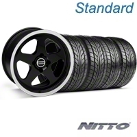 Black SC Style Wheel & NITTO Tire Kit - 17x8 (87-93; Excludes 93 Cobra) - AmericanMuscle Wheels KIT||10090||76004