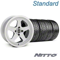 Silver SC Style Wheel & NITTO Tire Kit - 17x8 (87-93; Excludes 93 Cobra) - AmericanMuscle Wheels KIT||10091||76004