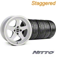 Staggered Silver SC Style Wheel & NITTO Tire Kit - 17x8/9 (87-93; Excludes 93 Cobra) - AmericanMuscle Wheels KIT||10091||10092||76004||76000