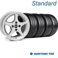 Silver 1995 Style Cobra R Wheel & Sumitomo Tire Kit - 16x8 (87-93; Excludes 93 Cobra) - AmericanMuscle Wheels KIT||28063||63031