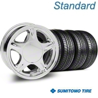 Pony Chrome Wheel & Sumitomo Tire Kit - 16x7 (87-93; Excludes 93 Cobra) - American Muscle Wheels 28229||63038||KIT