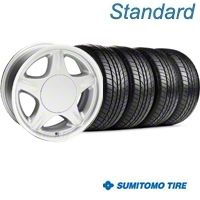 Pony Silver Wheel & Sumitomo Tire Kit - 16x7 (87-93; Excludes 93 Cobra) - American Muscle Wheels 28228||63038||KIT