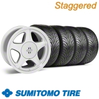 Staggered Argent Silver Pony R Wheel & Sumitomo Tire Kit - 17x9/10 (87-93; Excludes 93 Cobra)
