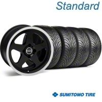 Black SC Style Wheel & Sumitomo Tire Kit - 17x9 (87-93; Excludes 93 Cobra) - AmericanMuscle Wheels KIT||10078||63010