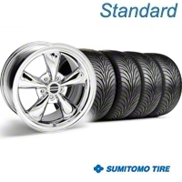 Chrome Bullitt Wheel & Sumitomo Tire Kit - 18x9 (94-98 All) - AmericanMuscle Wheels KIT||28019||63005