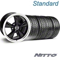 Black Bullitt Wheel & NITTO Tire Kit - 18x9 (94-98 All) - AmericanMuscle Wheels KIT||28018||76002