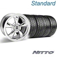 Chrome Bullitt Wheel & NITTO Tire Kit - 18x9 (94-98 All) - AmericanMuscle Wheels KIT||28019||76002