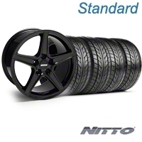 Black Saleen Style Wheel & NITTO Tire Kit - 18x9 (94-98 All) - AmericanMuscle Wheels KIT||28074||76002