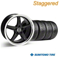 Staggered Black 1995 Style Cobra R Wheel & Sumitomo Tire Kit - 18x9/10 (94-98 All) - AmericanMuscle Wheels KIT||10095||10096||63005||63006