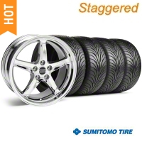 Staggered Chrome 1995 Style Cobra R Wheel & Sumitomo Tire Kit - 18x9/10 (94-98 All) - AmericanMuscle Wheels KIT||10097||10098||63005||63006