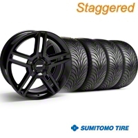 Staggered 2010 GT500 Black Wheel & Sumitomo Tire Kit - 18x9/10 (94-98 All) - American Muscle Wheels 28219||28222||63005||63006||KIT