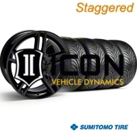 Staggered Black 2010 GT500 Wheel & Sumitomo Tire Kit - 18x9/10 (94-98 All) - AmericanMuscle Wheels KIT||28219||28222||63005||63006