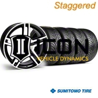 Staggered Black Machined 2010 GT500 Wheel & Sumitomo Tire Kit - 18x9/10 (94-98 All) - AmericanMuscle Wheels KIT||28221||28224||63005||63006